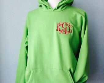 EMBROIDERED MONOGRAM Hoodie Interlocking Vine Adult Sweatshirt Monogram Fall Fleece Custom Clothing