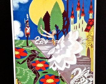 Art Deco Children's Illustration, The Steadfast Tin Soldier and the Ballerina, Fairytale, Illustrator Joyce Mercer, Original 1930 Book Print