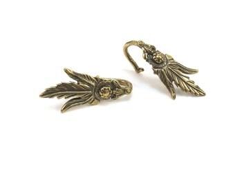 Gold Leaf Bails, 2 Ice Pick Bails, Antiqued Brass Leaf Bails, Jewelry Supplies, Leaf Pendant Bails, Item 300m