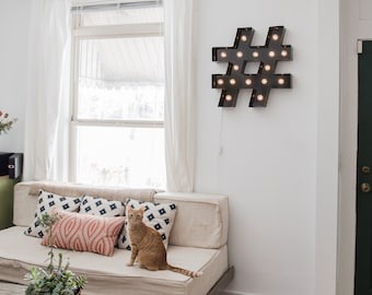 Vintage inspired marquee light hashtag pound sign for Decor hashtags