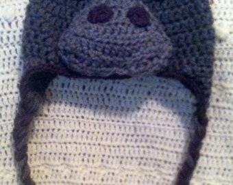 Cute Gray Manatee Hat with Earflaps and Braids