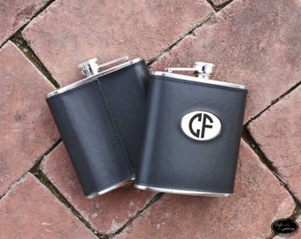 Engraved Leather Flask - Personalized Flask - Monogram Engraved Flask - Stocking Stuffer, Groomsman, Gift for Her, Bridesmaid Gift