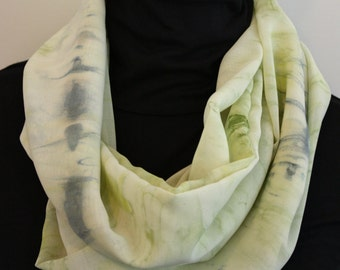 SALE-Silky Chiffon Infinity Circle Scarf in a Pale Yellow with Shades of Blue and Green in a Tie Dyed Print