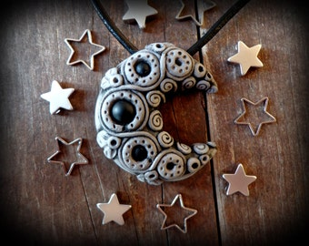 clay moon necklace,  wiccan jewelry, moon pendant, clay goddess jewelry, earth clay necklace witchcraft necklace gothic pagan black magic