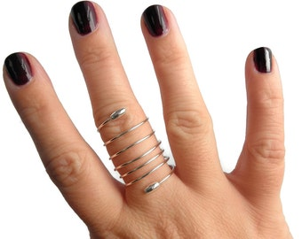 Sterling Silver Spiral Ring, Sterling Silver Thumb Ring, Multifinger Ring, Silver Wire Wrapped Ring