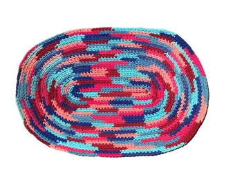 Large Braided Rug / Vibrant Colors / Handmade / Berry, Turquoise, Peach Aqua Blue / Reversible /  2x3 Oval / Vintage