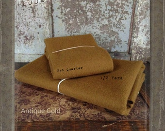 Wool: Half Yard 100% Wool - ANTIQUE GOLD - Marcus Fabrics