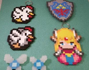 Zelda perler bead art, Princess Zelda charm or keychain, Navi magnet, Link Fairy magnet, SNES Zelda chicken keychain, Hyrule shield magnet
