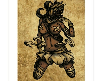 Tusken Raider, Star Wars, Pinup, Neo-Traditional Tattoo Flash, Art Print 12x16