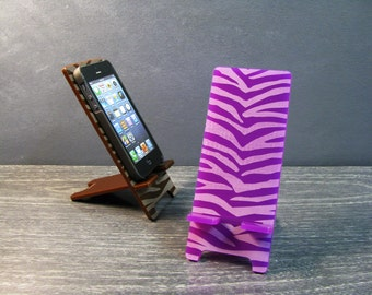 Zebra Stripes Cell Phone Stand Docking Station - 5 Sizes - Samsung Galaxy S5 S4, iPhone 6, 6 Plus, iPhone 5, iPhone 4, Universal,  9 Colors