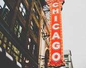 "Chicago Art, Theater, Fine Art Print, Chicago Wall Art, Orange Red Decor, State Street, Urban, Black and White Option  - ""Chi Theatre"""