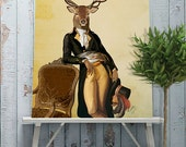 Deer and Chair Art Print - deer print stag print deer decor poster deer home wall decor gift for men Deer art print Wall art