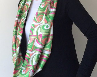 Boho Circle Scarf, Satin Loop Scarf, Printed Silk Scarf, Infinity Scarf, Geometric Scarf, Women's Gift, Christmas Gift