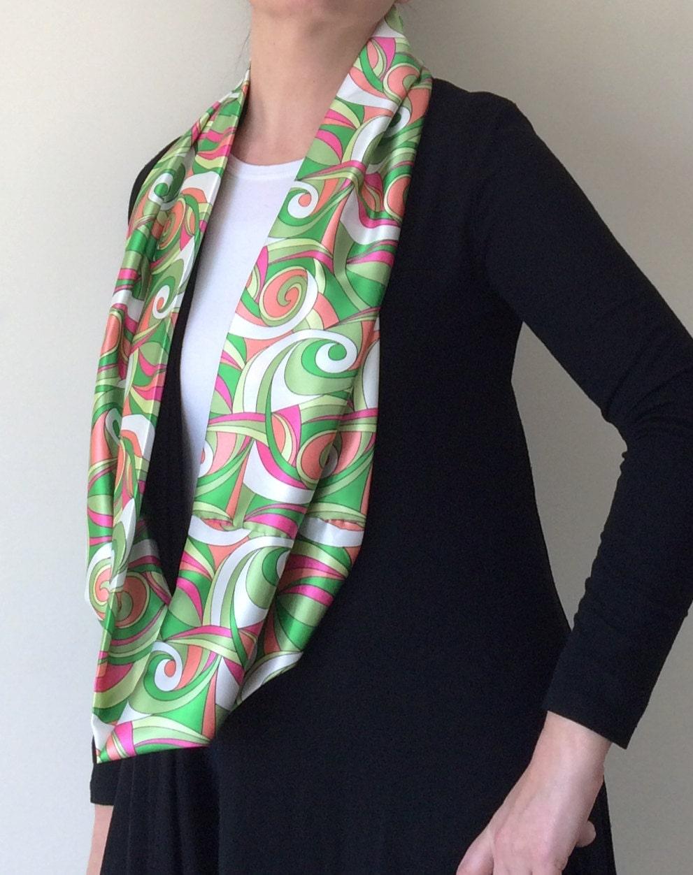 boho circle scarf satin loop scarf printed silk scarf