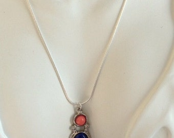 Vintage Blue Sodalite, Coral and Silver Pendant Necklace