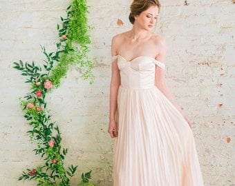 Off The Shoulder Wedding Dress, Blush Pink Wedding Dress, Silk Tulle Wedding Gown, Romantic Wedding Dress - Juliette Gown