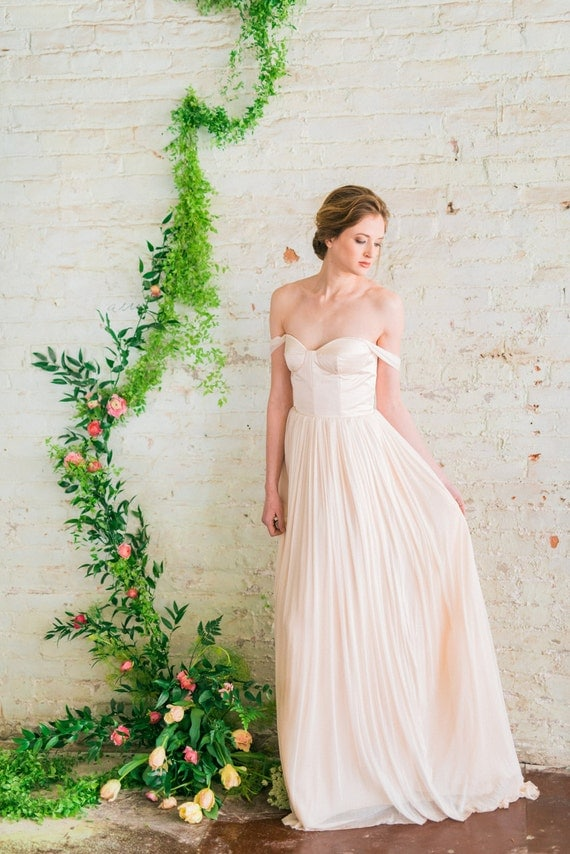 Off the shoulder wedding dress blush pink wedding dress silk like this item junglespirit Images