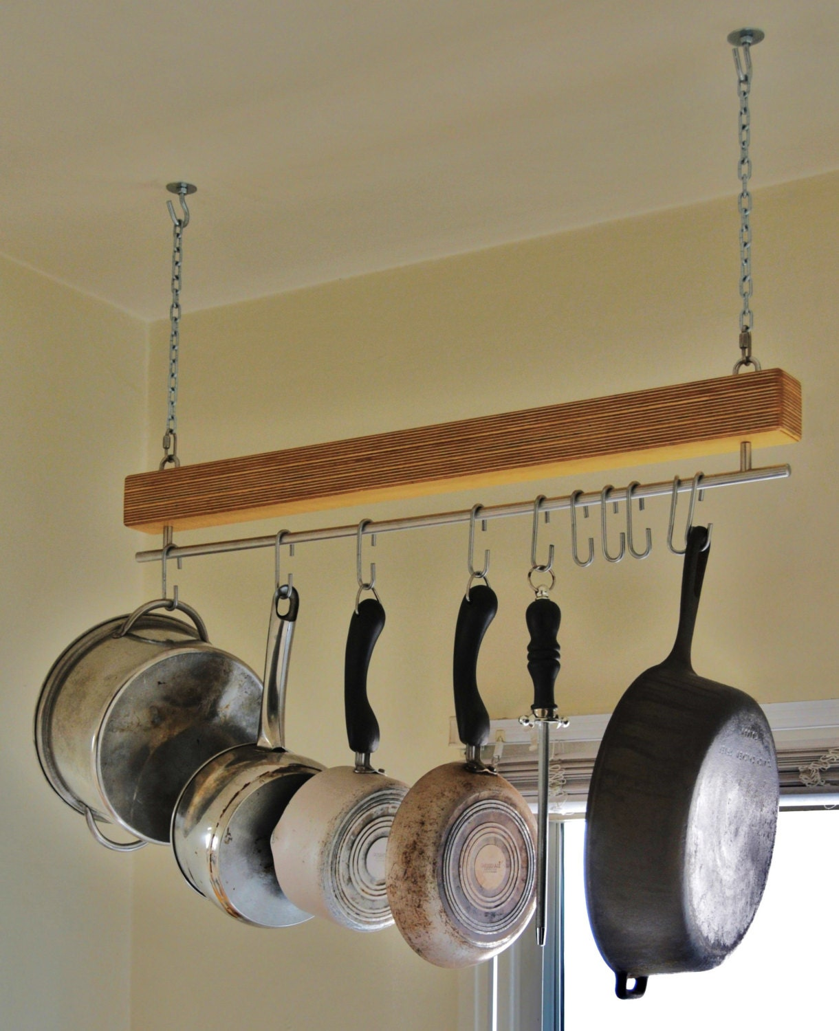 Handmade Baltic Birch Hanging Pot Rack