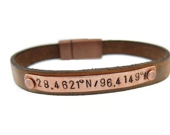 Gift, Personalized Leather Bracelet, Coordinate Bracelet for Men, Men's Gift, Mens Bracelet, Custom Coordinates, Father's Day Gift