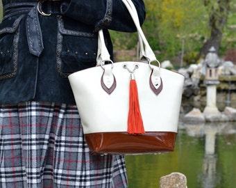 Cream LEATHER Bag, Leather Tote Bag, Leather Tassel Bag, Leather Tassel Purse, Cream Leather Bag, Leather Tassel Bag