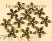 15 mm Antique Bronze Bendable Flower Bead Cap - Nickel Free and Lead Free - 50 pcs
