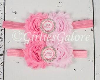 Baby Headband, Matching Sister Headbands, Pink Headband, Sisters Hairbows, Big Sister Headband, Little Sister Headband, sister set