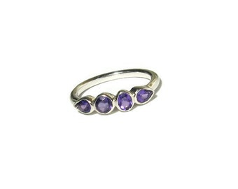 25% OFF Amethyst Gemstone Band, Sterling Silver, 4 stone ring, bezel, birthstone, Made to Order