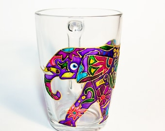 Custom Coffee Mug, Indian Elephant Mug, Hand Painted Cup