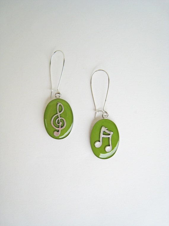 Music earrings, lime green earrings, treble clef music note earrings, musician jewelry, jazz rock dance - music teacher gift, greenery color