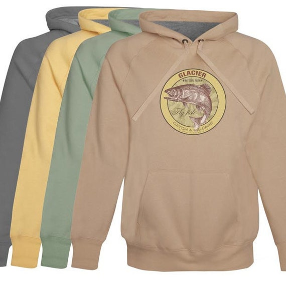 Items similar to glacier national park fly fishing hoodie for Fly fishing hoodie