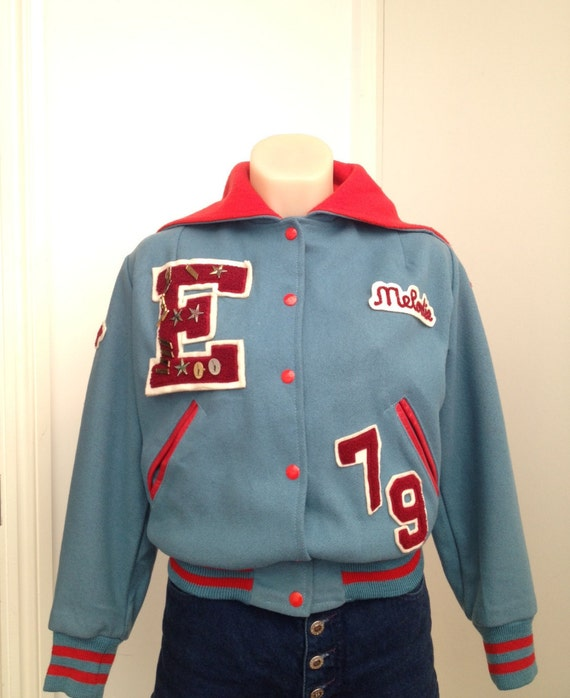 letter jacket patches vintage 70s letterman varsity jacket in blue and 17207