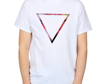 Inverted Triangle T-Shirt, Upside Down Digital Abstract Art Original Design Graphic Tee, Tumblr Instagram White T-Shirt