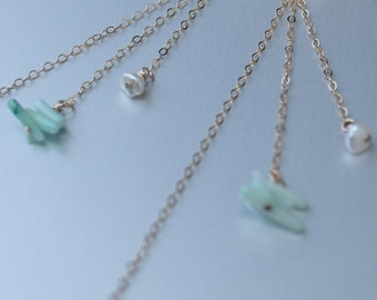 Sanddollar/coral/pearl Drop earrings, Ocean jewelry