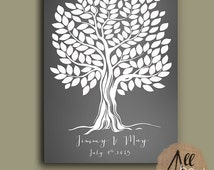 Wedding guest book Poster - Wedding guestbook tree - Guestbook Alternative - Wedding Poster - Weddings - Family Tree Gift - Guest Books #5