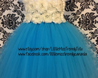Turquoise Flower Girl Tutu Dress, Turquoise Ivory Tutu Dress, IBlue Flower Tutu Dress, Turquoise Birthday Tutu, Turquoise Tutu Dress