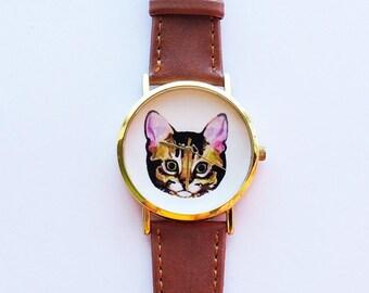 Cat Watch, Vintage Style Leather Watch, Women Watches, Unisex Watch, Boyfriend Watch, Mens Watch, Ladies Watch, Cat lover Gift, Cat Jewelry