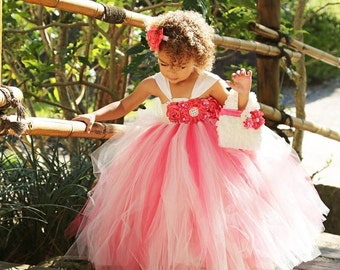 Flower Girl Dress, Coral and Ivory Tutu Dress