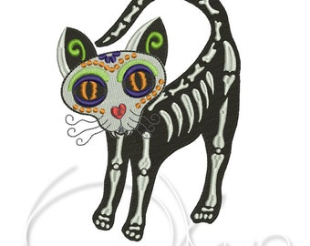 MACHINE EMBROIDERY DESIGN - Calavera cat, day of the dead, dia de los muertos