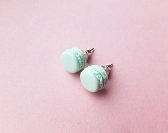 Mint Macaron earrings, food jewelry, mint green earrings, miniature food, french macarons, pastel macarons studs, macaroon, cotton candy
