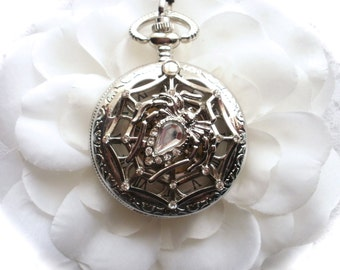 Gothic Spider Web Watch Necklace, Diamond Rhinestone Spider Web Watch Necklace or Pocket Chain, Gothic Jewelry, Spider Web Pendant