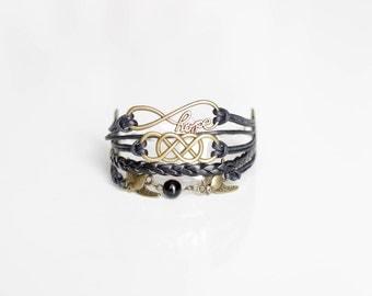 Hope Double Infinity Birds Cord Bracelet
