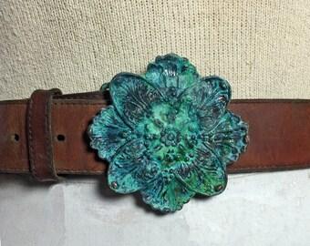 Vintage Floral Brass Patina belt buckle
