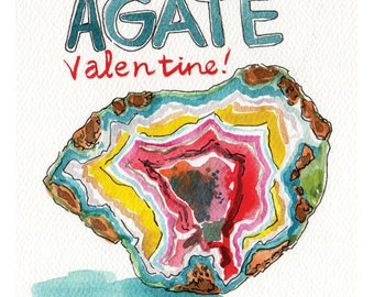 Beautiful Rainbow Agate Valentine Watercolor Painting Printable for Geology lovers!