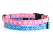 Starfish Cat Collar with Breakaway Safety Buckle - 3/8 inch width - Pattern: Little Starfish in Blue & Pink