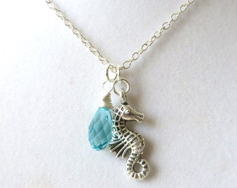 Beach Lovers Seahorse Light Turquoise Crystal Cruise Boho Vacation Ocean Necklace