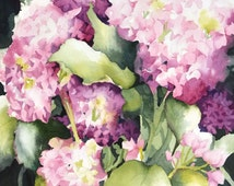 Floral Illustration, Watercolor Flower Wall Decor,Watercolor Painting,Pink Spring Art,Pink Wall Art,Floral Home Decor,11x14,13x19 Hydrangea