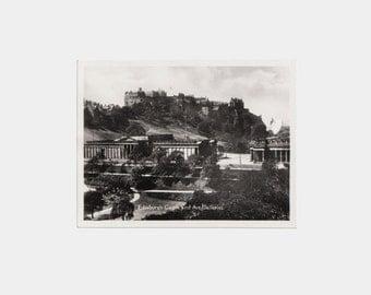 Original 1940s Photograph of Edinburgh Castle and Art Galleries - Scotland Scottish building city photographic picture souvenir black white