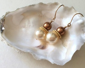 Her Pearl Earrings-Office Earrings-Earrings of Office-Wife Pearl Jewelry-Swarovski-Bestfriend Gift-Sister in Law Gifts-Jewelry Set For Wife