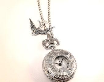 Alice in Wonderland Swallow Bird Pocket Watch Necklace -Vintage Silver Clock Jewellery -Kitsch Gift Present - Birdy Charm- Long Necklace