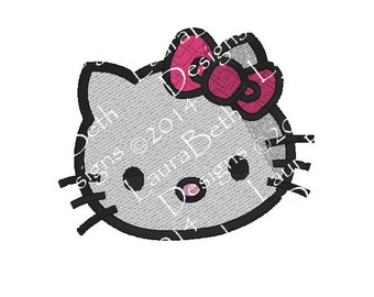 Hello Pink Bow Kitty Full Embroidery Head Face Digital Design ~ Full Embroidery Design INSTANT DOWNLOAD ~ 4x4, 5x7 and 6x10 Sizes